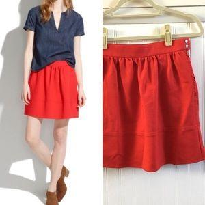 {madewell} red ponte swing skirt